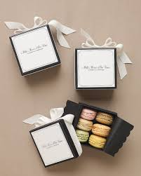 422 best wedding favors images on pinterest martha stewart Wedding Favor Ideas Black And White macaron favors clad in white grosgrain ribbon and black glassine, favor boxes printed with \