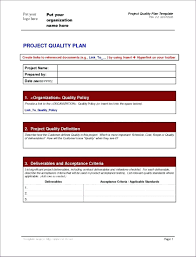 Example Of Project Design Management Plans Project Plan Example Pdf Quality Template