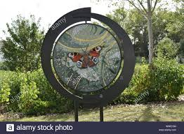 Emblazoned Butterfly Mosaic by Melanie Watts. Part of the ROCLA Art Trail  in Redhouse Park in Milton Keynes Stock Photo - Alamy