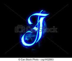 Blue Flame Magic Font Over Black Background Letter J