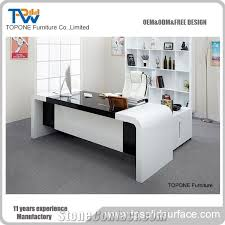black office table. Artificial Marble Stone Latest Office Table Designs Writing Desk With Black Color Gloss Corian Acrylic Solid Surface Tops Design China Facotry