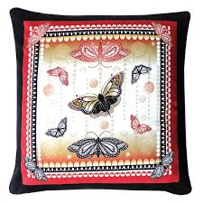 Red and <b>Black Butterfly</b> Cushion | Decorque Cards
