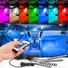 Coloured Interior Car Lights Details About 4pcs Rgb Led Strip Lights Colors Car Decorative Atmosphere Lamps Interior Light