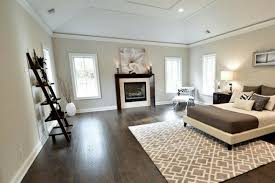 with dark floors and gray walls