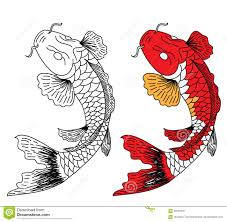 Koi Fish Design Japanese Koifish Tattoo Design Vector Stock Vector