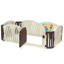 baby vivo foldable baby child playpen for indoor and outdoor brown