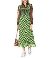 Checked Seersucker Maxi Dress