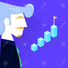 Vector Illustration Businessman Bar Chart Diagram Investment