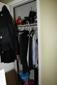 the closets are small and pretty typical 1950 style closets one bar and shelf with a small door and that s it