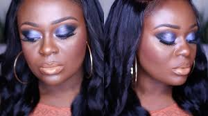 midnight blue smokey eye makeup lips on dark skin makeup tutorial