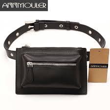 Annmouler Unisex Women <b>Waist Bag Pu</b> Leather Rivet <b>Fanny</b> Pack ...