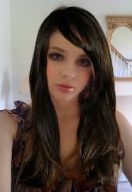 Brunette with side bangs