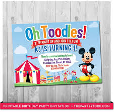 mickey mouse party invitation mickey mouse birthday invitation carnival or circus party theme printable boys party invite boy girl blue red first birthday