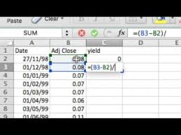 How To Calculate Stock Price Monthly Yield And Return For Rs 100 Invested On Excel