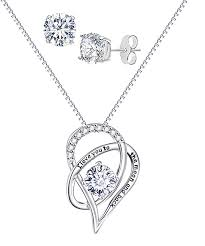 love this silvertone to the moon pendant necklace earrings set with swarovski crystals