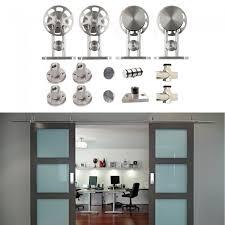 double glass barn doors. Winsoon-8-16ft-modern-barn-door-hardware-stainless- Double Glass Barn Doors
