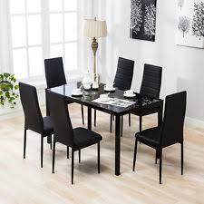 7 piece dining table set 6 chairs gl metal kitchen room furniture black