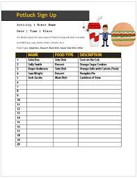 Sign Up Sheet For Thanksgiving Potluck 60 Best Potluck Signup Sheets For Free 5th One Will Amaze You