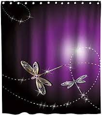 Amazon.com: Lifeasy Elegant Gold Dragonfly Shower Curtain Silver ...