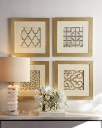 ... Four Panels Gold Elegance Framed Scrapbook Paper As Wall Art Cheap And  Gorgeous White Flowers White ...