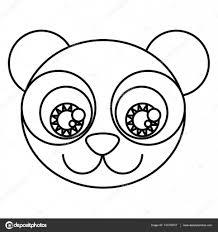 表情豊かな目とシルエット漫画かわいい顔パンダ クマ ストックベクター