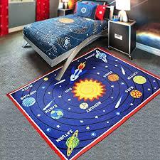 blue solar system kids area rug educational learning carpet fun rug children area rug for playroom