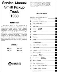 1980 dodge ram 50 plymouth arrow truck repair shop manual original table of contents