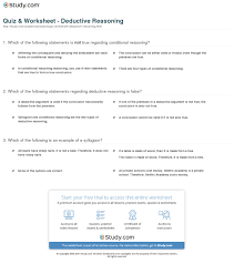 quiz worksheet deductive reasoning com print deductive reasoning examples definition worksheet