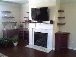 floating shelves around fireplace