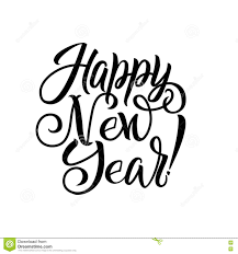 Black And White Greeting Card Happy New Year White Background Happy New Year Calligraphy Greeting