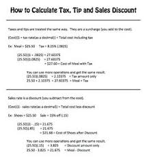 Freebie How To Calculate Tax Tip And Sales Discount