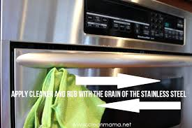 apply cleaner and rub with the grain of the stainless steel - clean amam