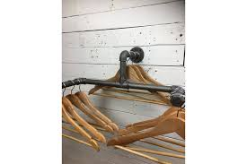 Wall mounted clothing rails Brackets Vintage Double Wall Mounted Clothes Rail Made From Industrial Pipe Home Or Retail Vinterior Vinterior Vintage Double Wall Mounted Clothes Rail Made From Industrial Pipe