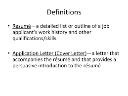 work resume definition