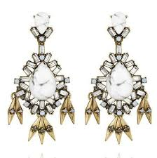 statement white natural stone big chandelier earrings zoom