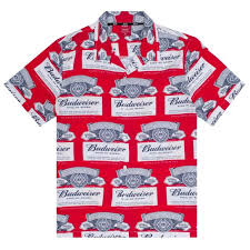 budweiser label on up shirt