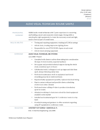 Awesome Collection of Audio Visual Technician Resume Sample Also Free  Download