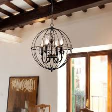 dover 4 light antique bronze globe cage crystal chandelier ceiling fixture