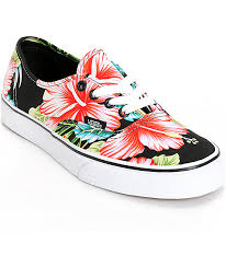 vans shoes with flowers. vans authentic hawaiian floral black shoes with flowers i
