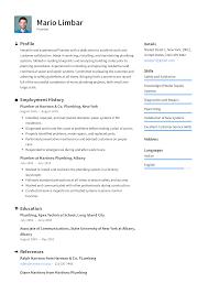 Plumber Resume Templates 2019 Free Download Resume Io