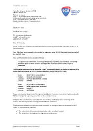 Assessment Letter By The Australian Computer Society Inc Act