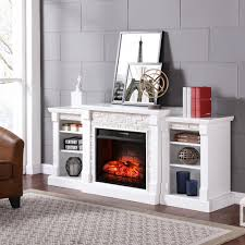 southern enterprises nassau 71 75 in w infrared faux stone electric fireplace with bookcases in white