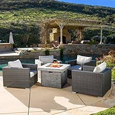 patio with square fire pit. GDF Studio   Soleil Outdoor 4 Piece Wicker Club Chair Set With Square Fire Pit Patio I