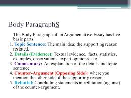 the argumentative essay ppt video online body paragraphs the body paragraph of an argumentative essay has five basic parts