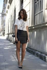 tshirt leather skirt