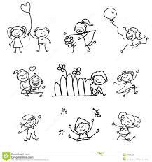 Bambini Felici Del Fumetto Del Disegno Della Mano Illustrazione