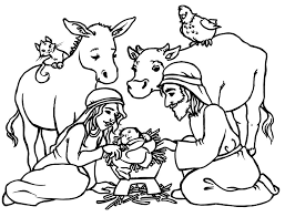 Adorable Nativity Coloring Page With Animals