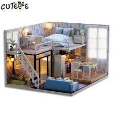 mini doll furniture. CUTEBEE DIY Doll House Wooden Houses Miniature Dollhouse Furniture Kit Toys For Children Christmas Gift Mini I