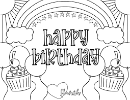 My favorite birthday cake picture is the one with all the balloons. Happy Birthday Coloring Page Sunshine Rainbows Cupcakes