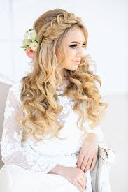 oft waves in bridal hairstyle parted with loose braid as a headband by elstile the